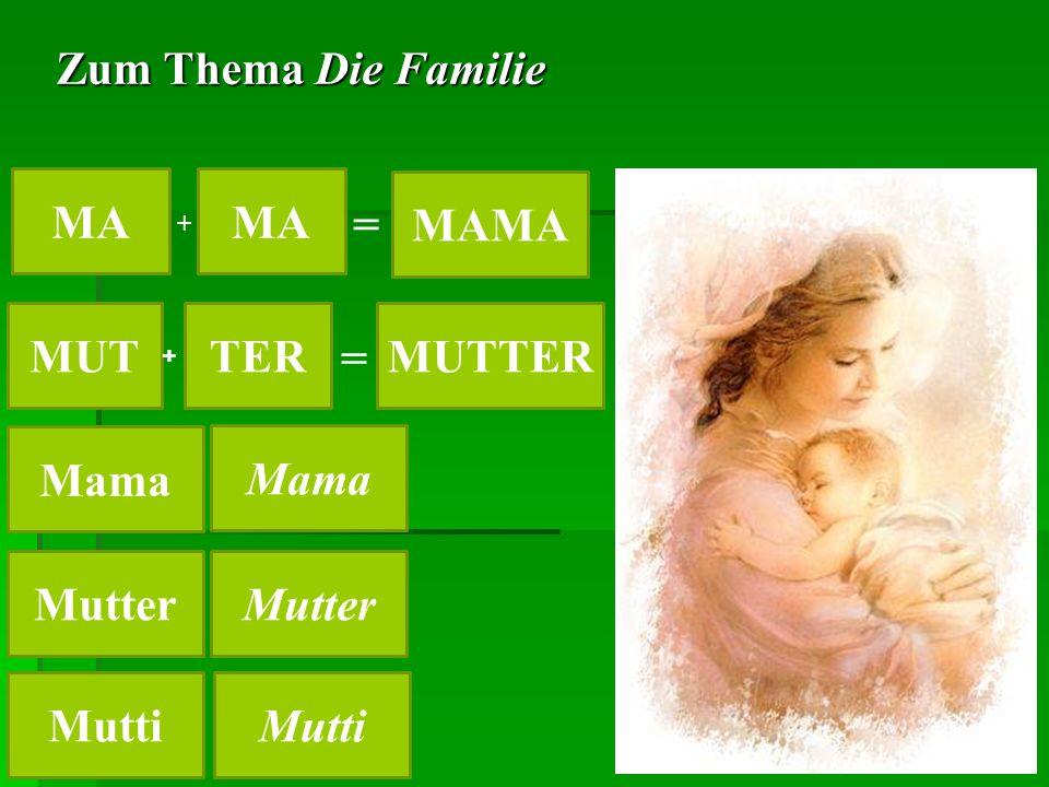 Zum Thema Die Familie MA MAMA MUTTERMUTTER Mama Mutter Mutti + + = =
