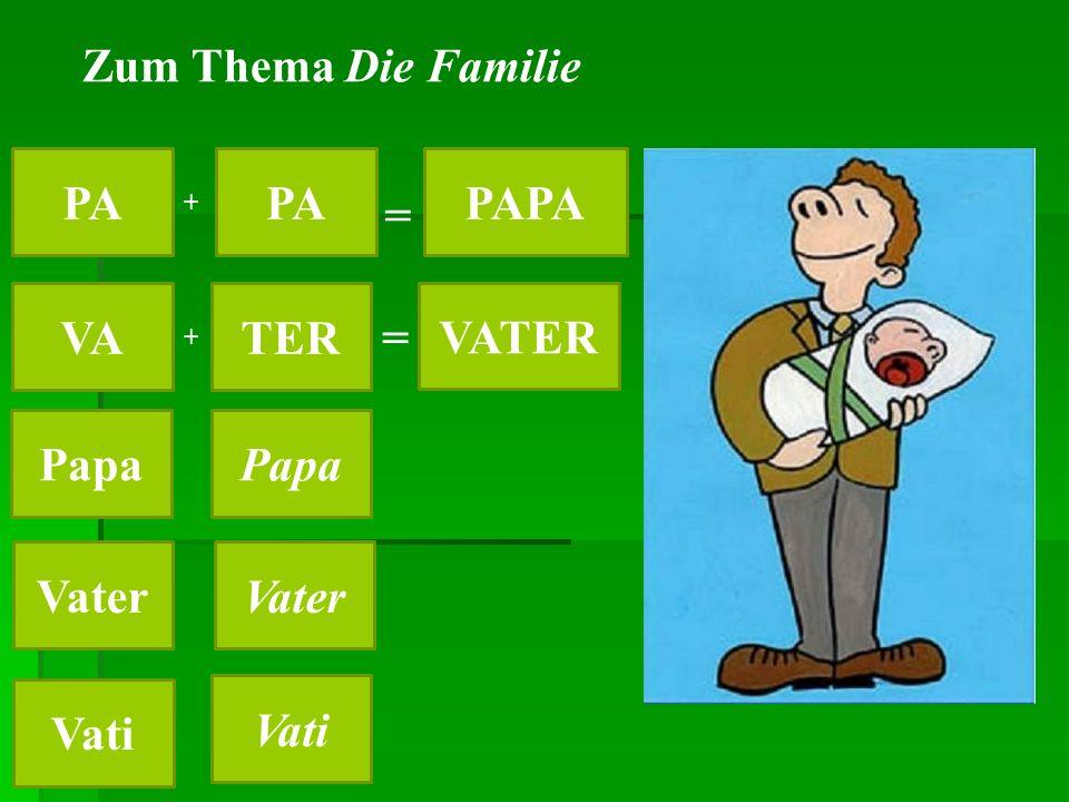 Zum Thema Die Familie PA PAPA VATER VATER Papa Vati Vater Vati + + = =