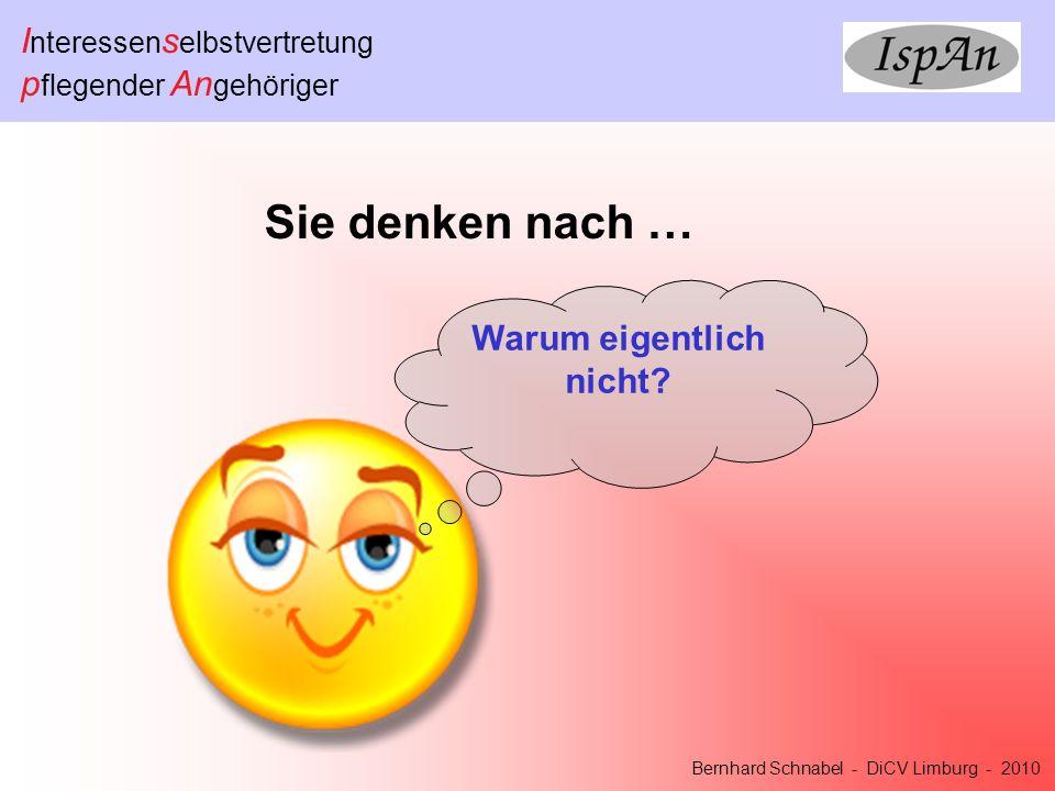 I nteressen s elbstvertretung p flegender An gehöriger Bernhard Schnabel - DiCV Limburg - 2010 Sie denken nach … Warum eigentlich nicht?