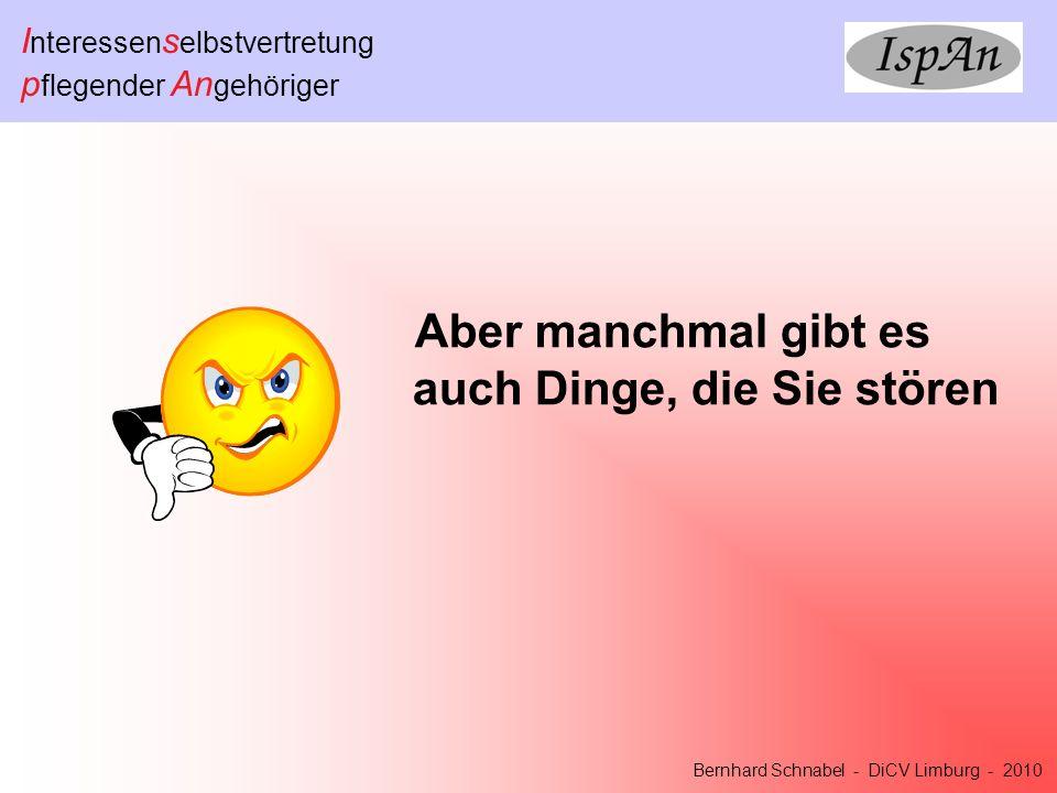 I nteressen s elbstvertretung p flegender An gehöriger Bernhard Schnabel - DiCV Limburg - 2010 Sie denken nach … Aha !