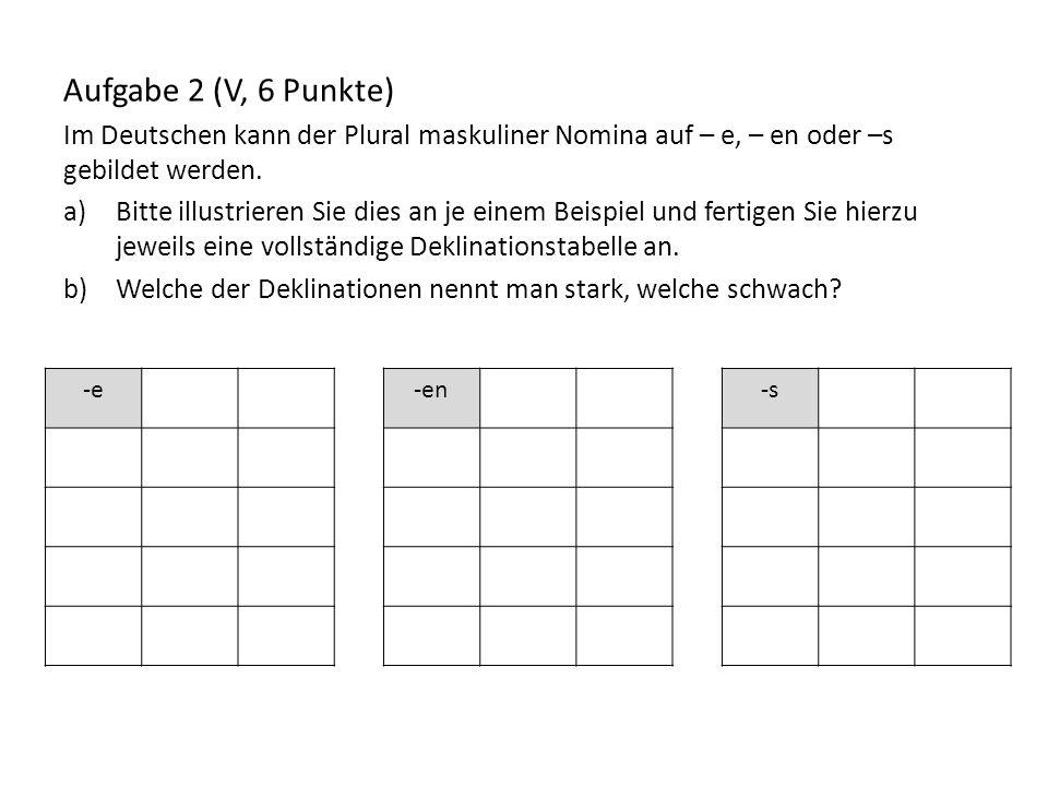 Aufgabe 2 (V, 6 Punkte) Im Deutschen kann der Plural maskuliner Nomina auf – e, – en oder –s gebildet werden. a)Bitte illustrieren Sie dies an je eine