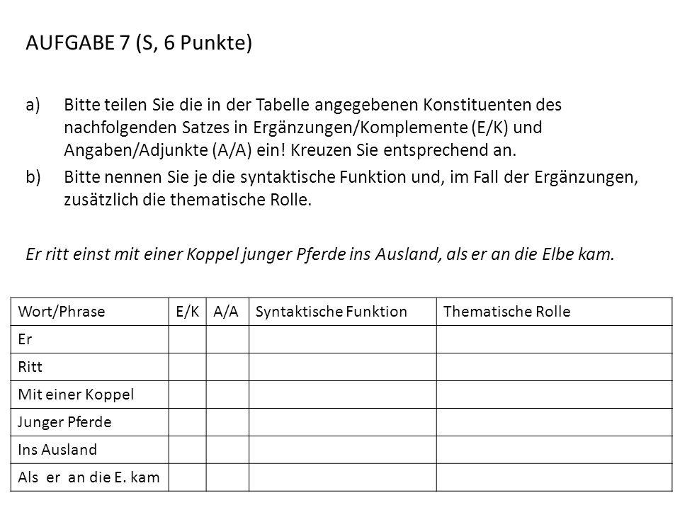 AUFGABE 7 (S, 6 Punkte) a)Bitte teilen Sie die in der Tabelle angegebenen Konstituenten des nachfolgenden Satzes in Ergänzungen/Komplemente (E/K) und
