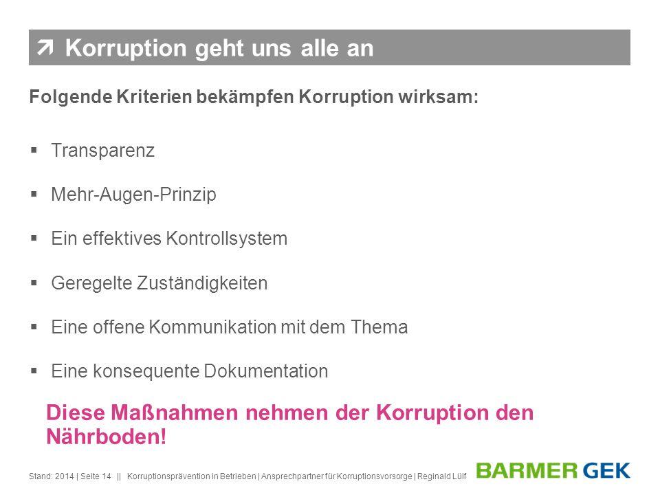 || Stand: 2014Korruptionsprävention in Betrieben | Ansprechpartner für Korruptionsvorsorge | Reginald Lülf| Seite 14 Korruption geht uns alle an Folge