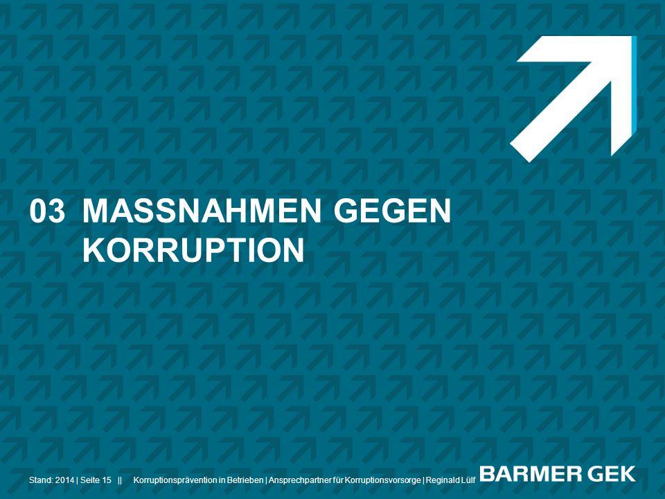 ||Stand: 2014Korruptionsprävention in Betrieben | Ansprechpartner für Korruptionsvorsorge | Reginald Lülf| Seite 15 03MASSNAHMEN GEGEN KORRUPTION