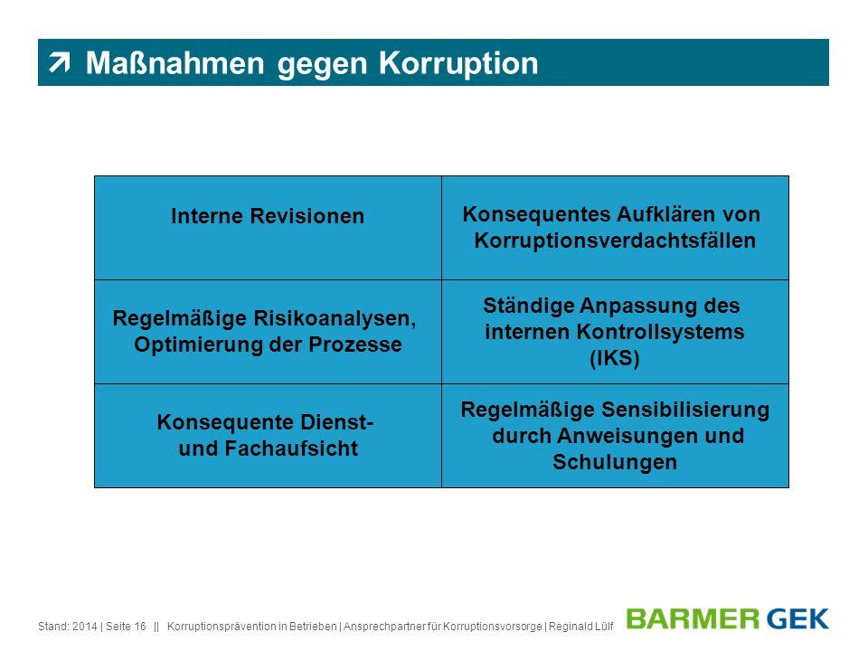 || Stand: 2014Korruptionsprävention in Betrieben | Ansprechpartner für Korruptionsvorsorge | Reginald Lülf| Seite 16 Konsequentes Aufklären von Korrup