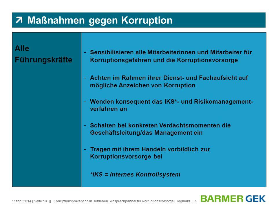 || Stand: 2014Korruptionsprävention in Betrieben | Ansprechpartner für Korruptionsvorsorge | Reginald Lülf| Seite 18 Alle Führungskräfte - Sensibilisi
