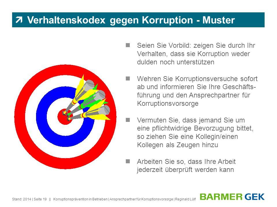 || Stand: 2014Korruptionsprävention in Betrieben | Ansprechpartner für Korruptionsvorsorge | Reginald Lülf| Seite 19 Verhaltenskodex gegen Korruption