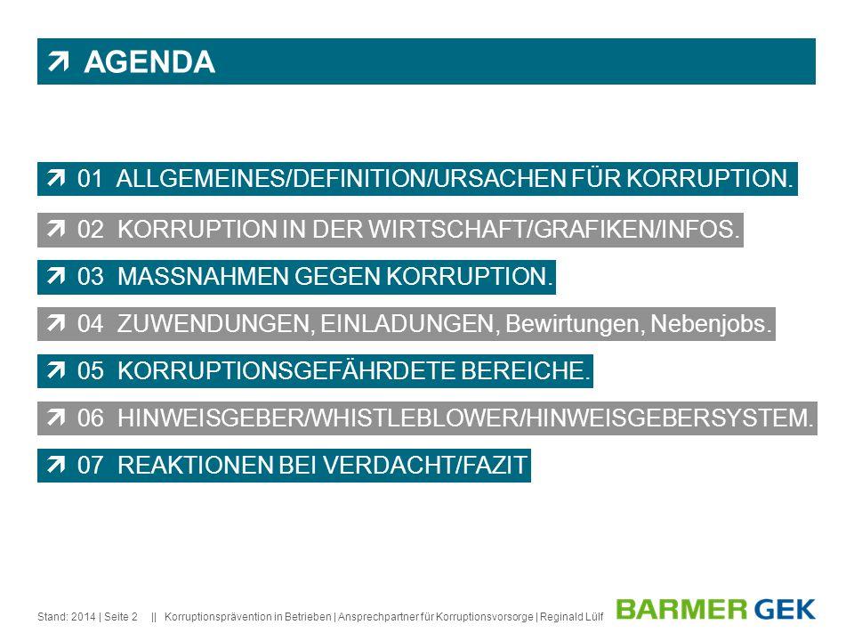 || Stand: 2014Korruptionsprävention in Betrieben | Ansprechpartner für Korruptionsvorsorge | Reginald Lülf| Seite 2 AGENDA 01 ALLGEMEINES/DEFINITION/U