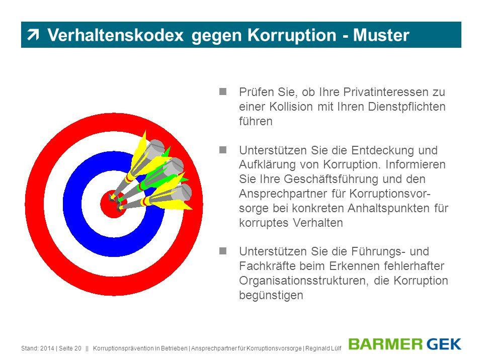 || Stand: 2014Korruptionsprävention in Betrieben | Ansprechpartner für Korruptionsvorsorge | Reginald Lülf| Seite 20 Prüfen Sie, ob Ihre Privatinteres