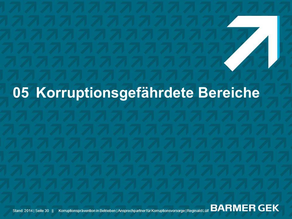 ||Stand: 2014Korruptionsprävention in Betrieben | Ansprechpartner für Korruptionsvorsorge | Reginald Lülf| Seite 30 05Korruptionsgefährdete Bereiche