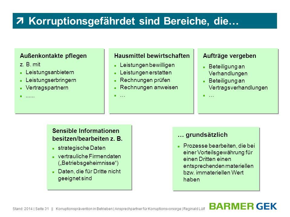 || Stand: 2014Korruptionsprävention in Betrieben | Ansprechpartner für Korruptionsvorsorge | Reginald Lülf| Seite 31 Außenkontakte pflegen z. B. mit L