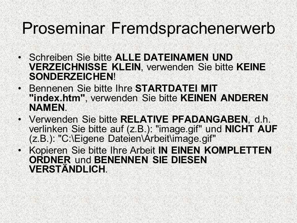 Proseminar Fremdsprachenerwerb Schreiben Sie bitte ALLE DATEINAMEN UND VERZEICHNISSE KLEIN, verwenden Sie bitte KEINE SONDERZEICHEN! Bennenen Sie bitt