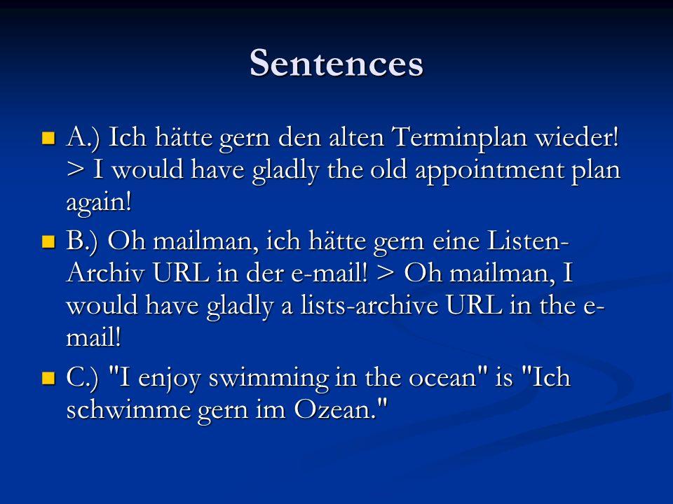 Sentences A.) Ich hätte gern den alten Terminplan wieder! > I would have gladly the old appointment plan again! A.) Ich hätte gern den alten Terminpla