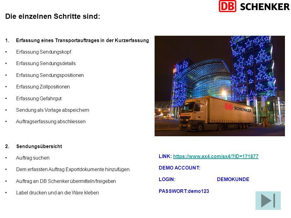 Die einzelnen Schritte sind: 1.Erfassung eines Transportauftrages in der Kurzerfassung Erfassung Sendungskopf Erfassung Sendungsdetails Erfassung Send
