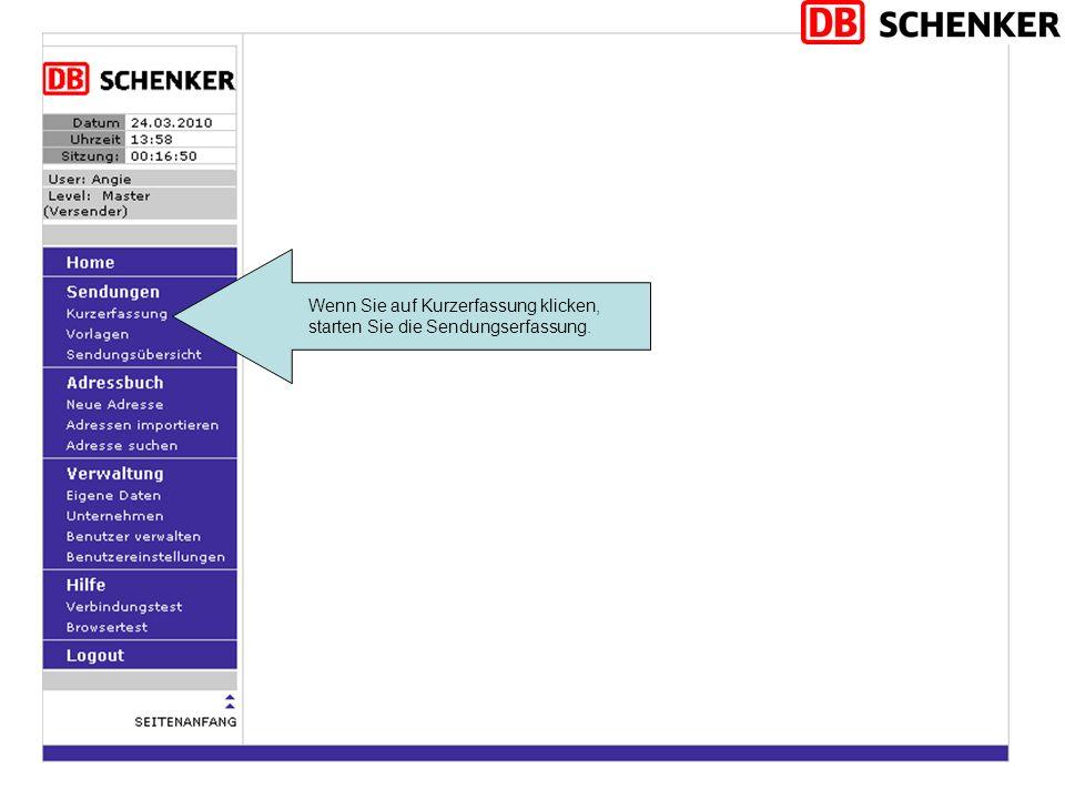 Abholung durch Schenker: Soll die Sendung durch Schenker abgeholt werden.