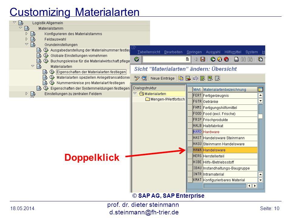 Customizing Materialarten 18.05.2014 prof. dr. dieter steinmann d.steinmann@fh-trier.de Seite: 10 Doppelklick © SAP AG, SAP Enterprise