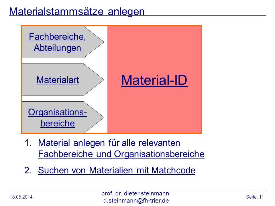 Materialstammsätze anlegen 18.05.2014 prof. dr. dieter steinmann d.steinmann@fh-trier.de Seite: 11 Material-ID Fachbereiche, Abteilungen Organisations