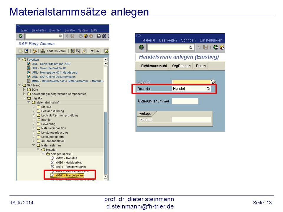 Materialstammsätze anlegen 18.05.2014 prof. dr. dieter steinmann d.steinmann@fh-trier.de Seite: 13