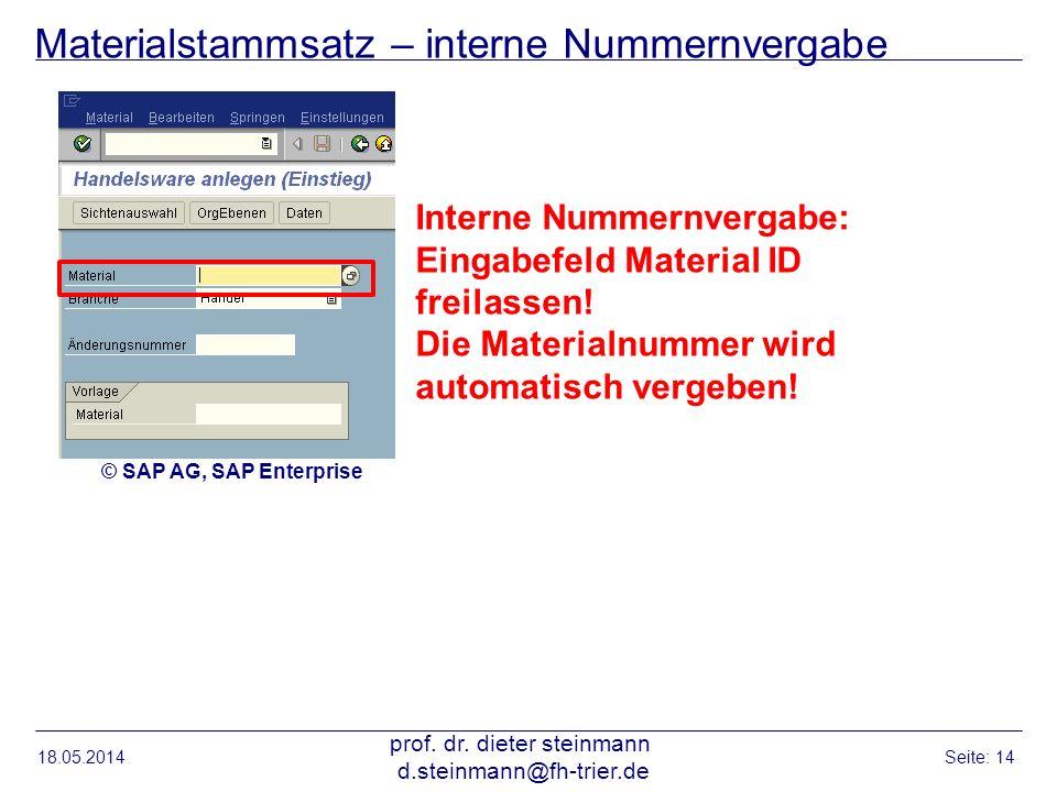 Materialstammsatz – interne Nummernvergabe 18.05.2014 prof. dr. dieter steinmann d.steinmann@fh-trier.de Seite: 14 Interne Nummernvergabe: Eingabefeld