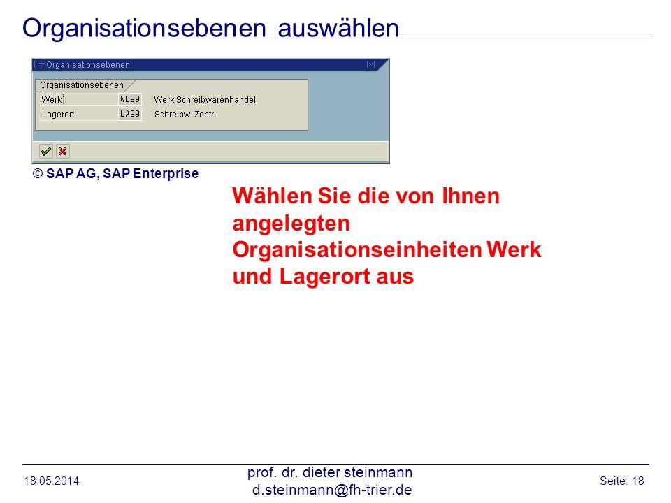 Organisationsebenen auswählen 18.05.2014 prof. dr. dieter steinmann d.steinmann@fh-trier.de Seite: 18 Wählen Sie die von Ihnen angelegten Organisation