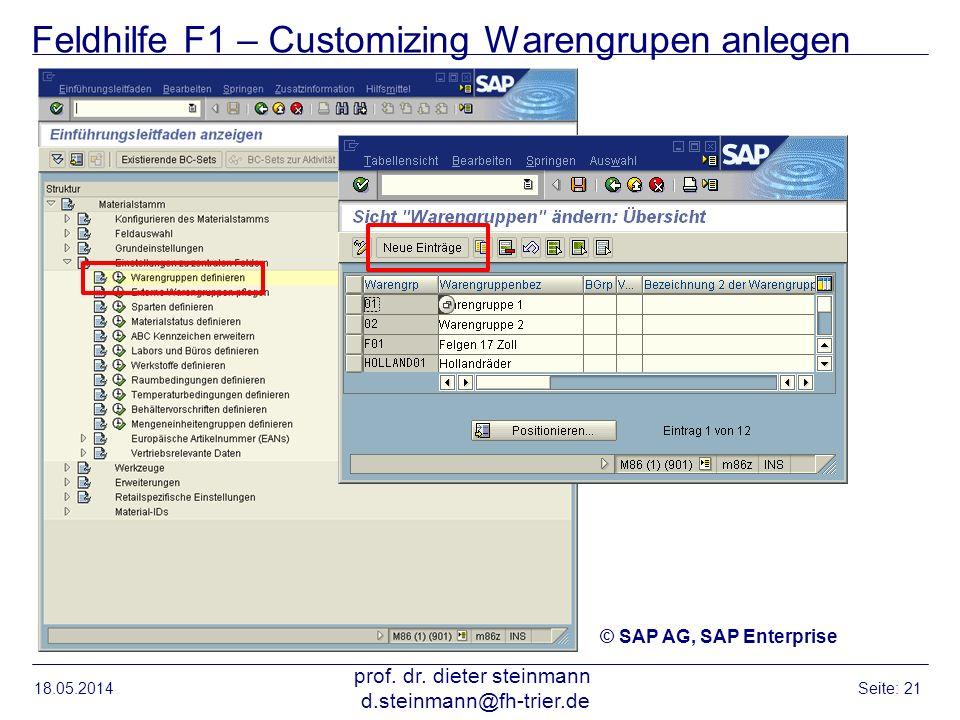 Feldhilfe F1 – Customizing Warengrupen anlegen 18.05.2014 prof. dr. dieter steinmann d.steinmann@fh-trier.de Seite: 21 © SAP AG, SAP Enterprise