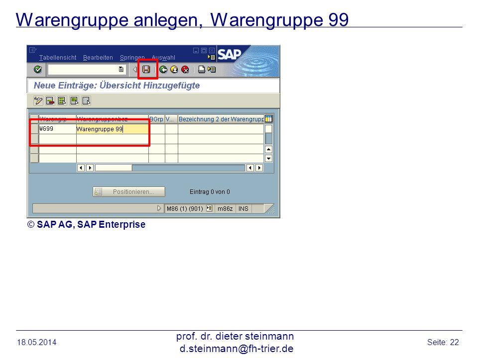 Warengruppe anlegen, Warengruppe 99 18.05.2014 prof. dr. dieter steinmann d.steinmann@fh-trier.de Seite: 22 © SAP AG, SAP Enterprise