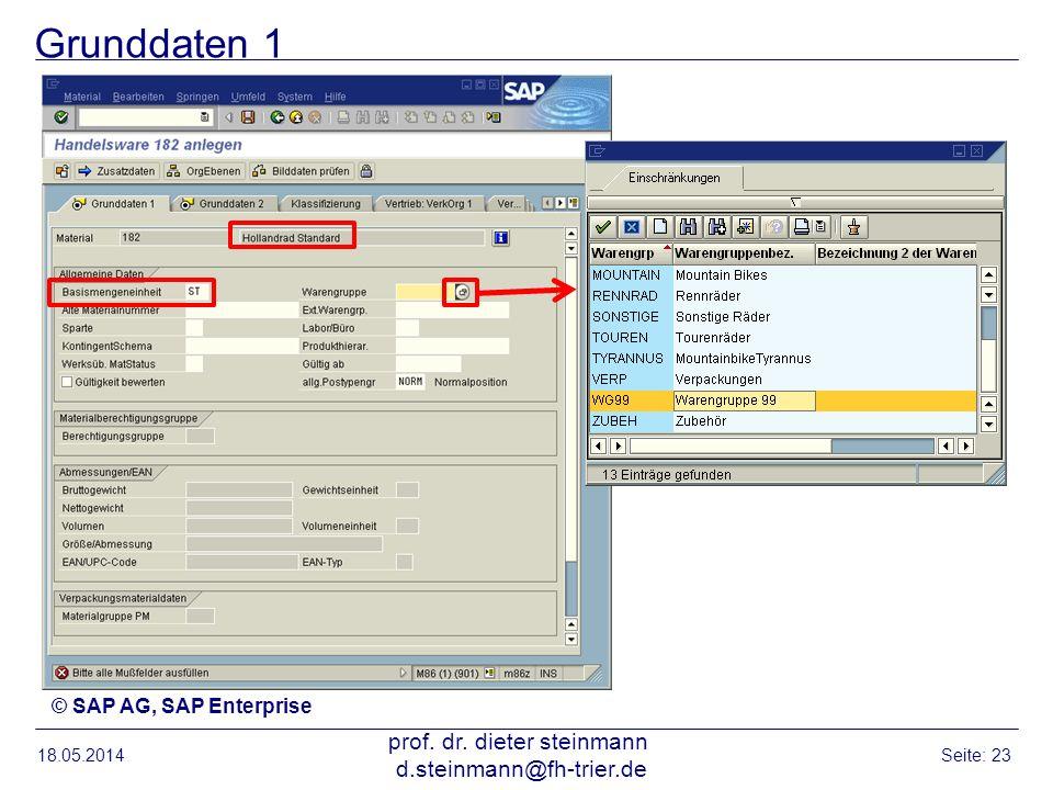 Grunddaten 1 18.05.2014 prof. dr. dieter steinmann d.steinmann@fh-trier.de Seite: 23 © SAP AG, SAP Enterprise