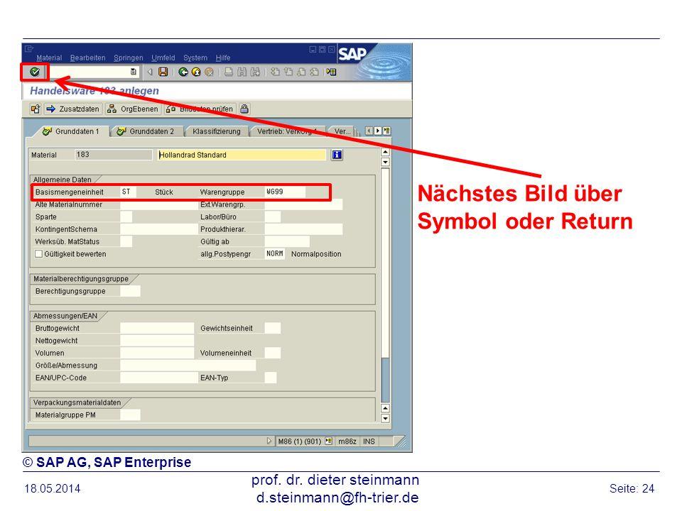 18.05.2014 prof. dr. dieter steinmann d.steinmann@fh-trier.de Seite: 24 Nächstes Bild über Symbol oder Return © SAP AG, SAP Enterprise
