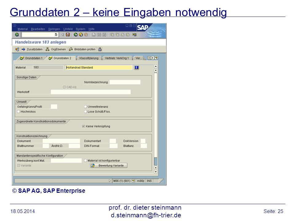 Grunddaten 2 – keine Eingaben notwendig 18.05.2014 prof. dr. dieter steinmann d.steinmann@fh-trier.de Seite: 25 © SAP AG, SAP Enterprise