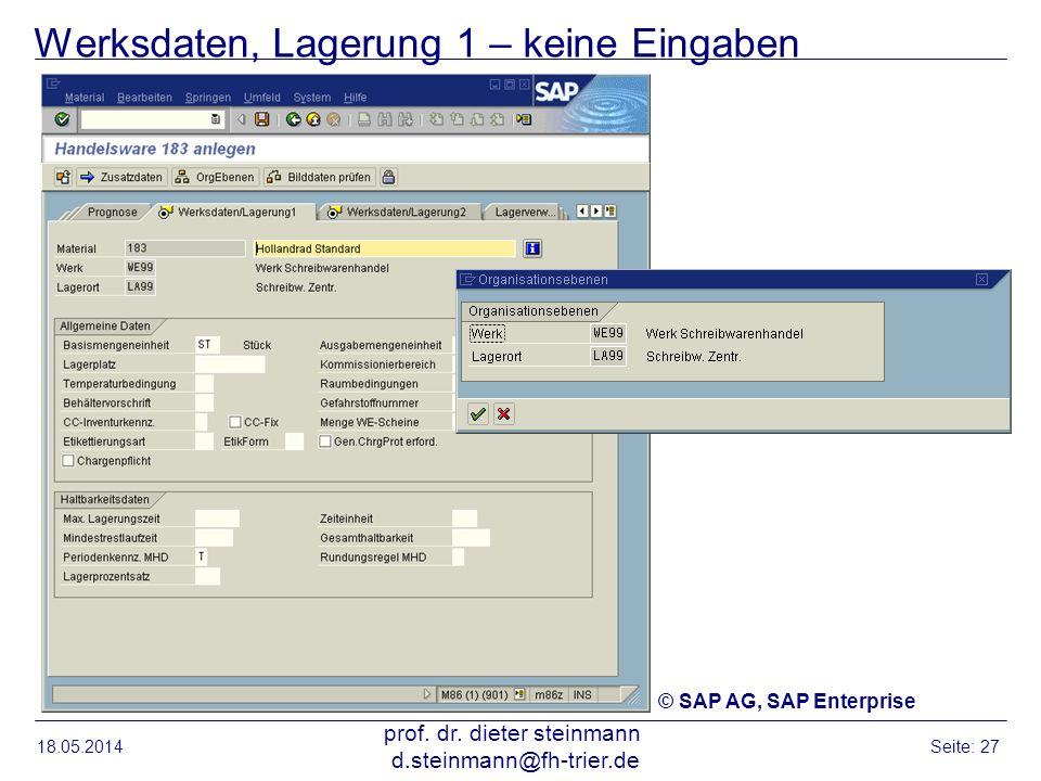 Werksdaten, Lagerung 1 – keine Eingaben 18.05.2014 prof. dr. dieter steinmann d.steinmann@fh-trier.de Seite: 27 © SAP AG, SAP Enterprise
