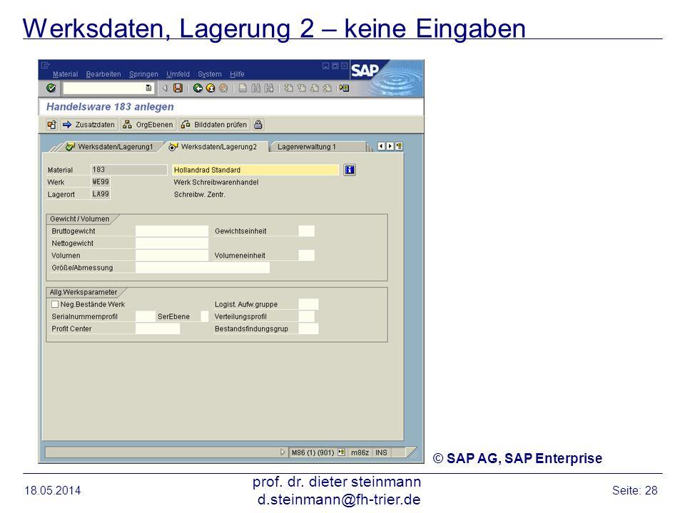 Werksdaten, Lagerung 2 – keine Eingaben 18.05.2014 prof. dr. dieter steinmann d.steinmann@fh-trier.de Seite: 28 © SAP AG, SAP Enterprise