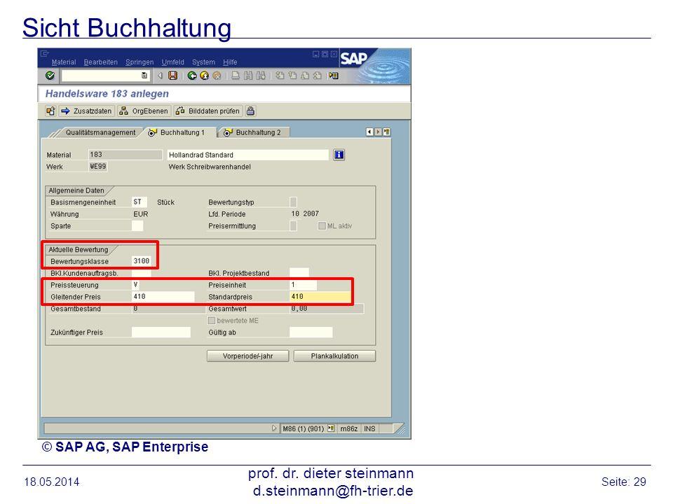 Sicht Buchhaltung 18.05.2014 prof. dr. dieter steinmann d.steinmann@fh-trier.de Seite: 29 © SAP AG, SAP Enterprise