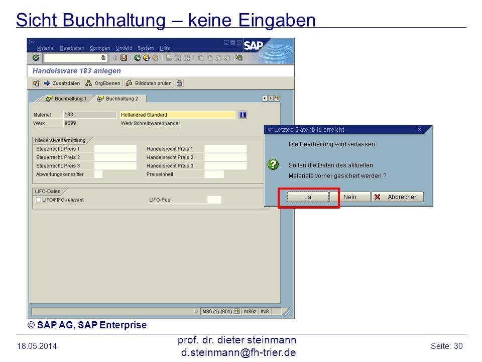 Sicht Buchhaltung – keine Eingaben 18.05.2014 prof. dr. dieter steinmann d.steinmann@fh-trier.de Seite: 30 © SAP AG, SAP Enterprise