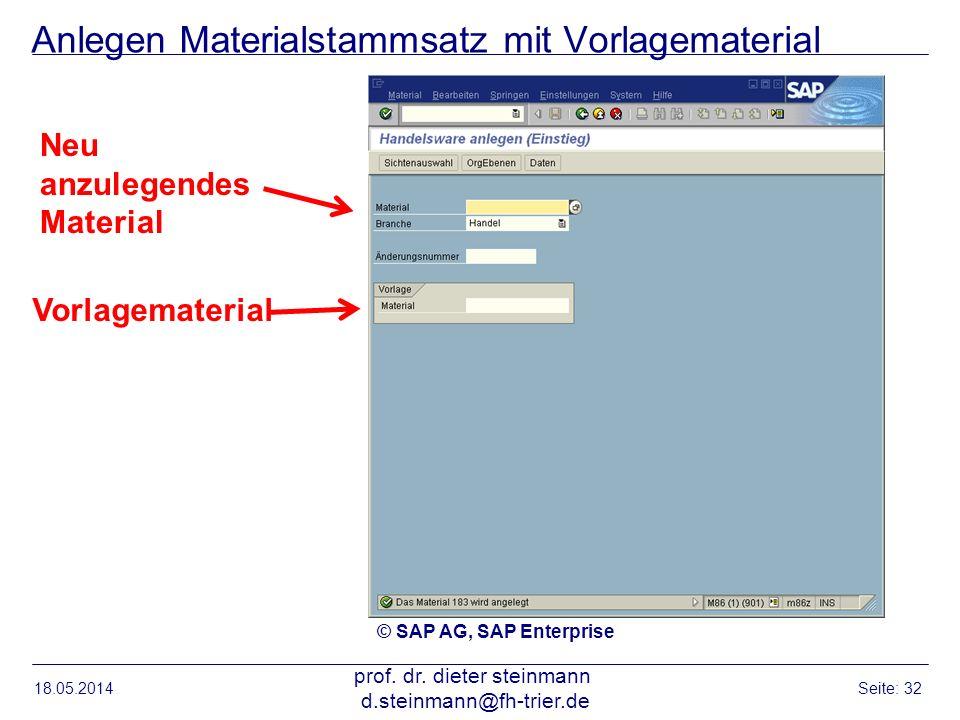Anlegen Materialstammsatz mit Vorlagematerial 18.05.2014 prof. dr. dieter steinmann d.steinmann@fh-trier.de Seite: 32 © SAP AG, SAP Enterprise Vorlage