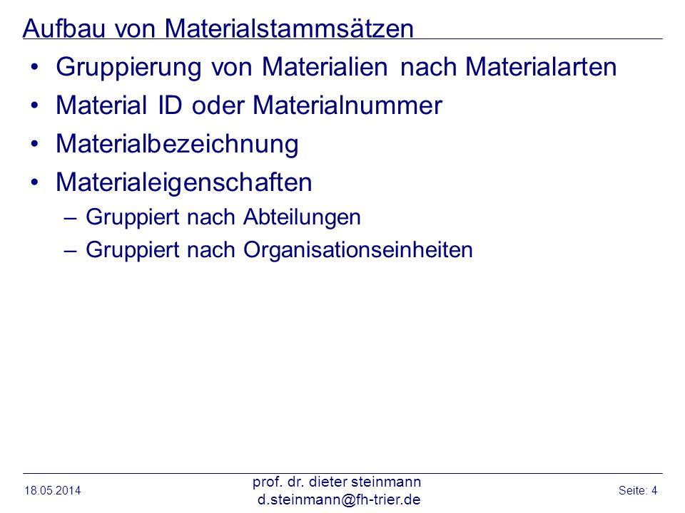 Aufbau von Materialstammsätzen Gruppierung von Materialien nach Materialarten Material ID oder Materialnummer Materialbezeichnung Materialeigenschafte