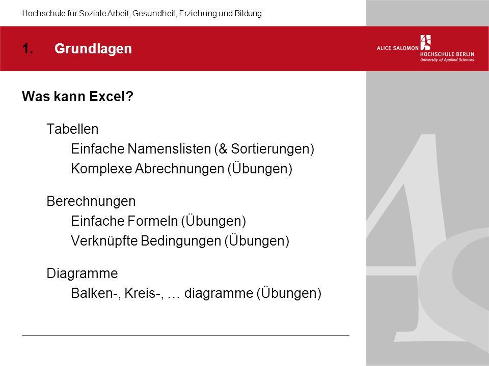 Hochschule für Soziale Arbeit, Gesundheit, Erziehung und Bildung Was kann Excel.