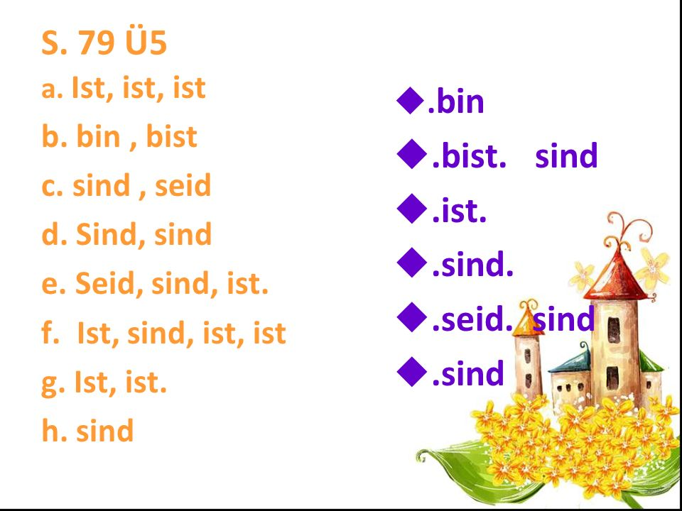 S.79 Ü5 a. Ist, ist, ist b. bin, bist c. sind, seid d.
