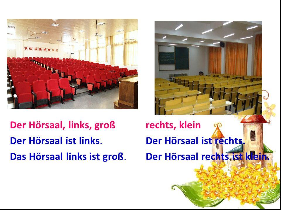 Der Hörsaal, links, groß Der Hörsaal ist links.Das Hörsaal links ist groß.