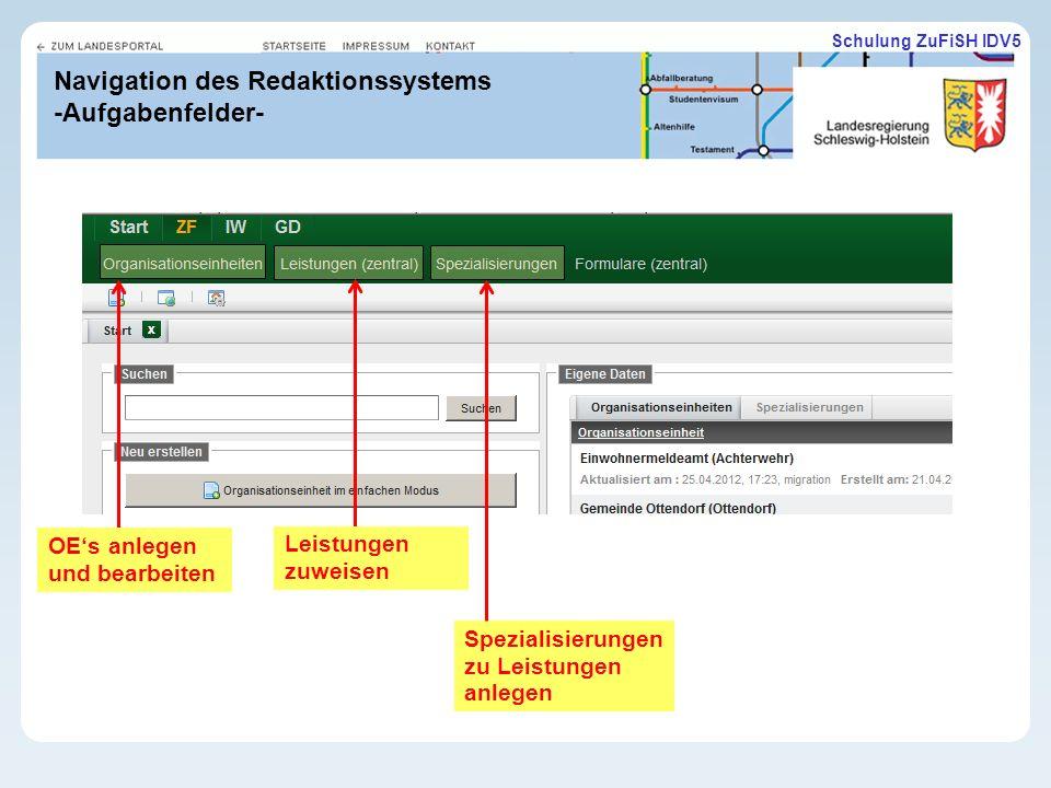 Schulung ZuFiSH IDV5 Navigation des Redaktionssystems -Aufgabenfelder- OEs anlegen und bearbeiten Leistungen zuweisen Spezialisierungen zu Leistungen anlegen