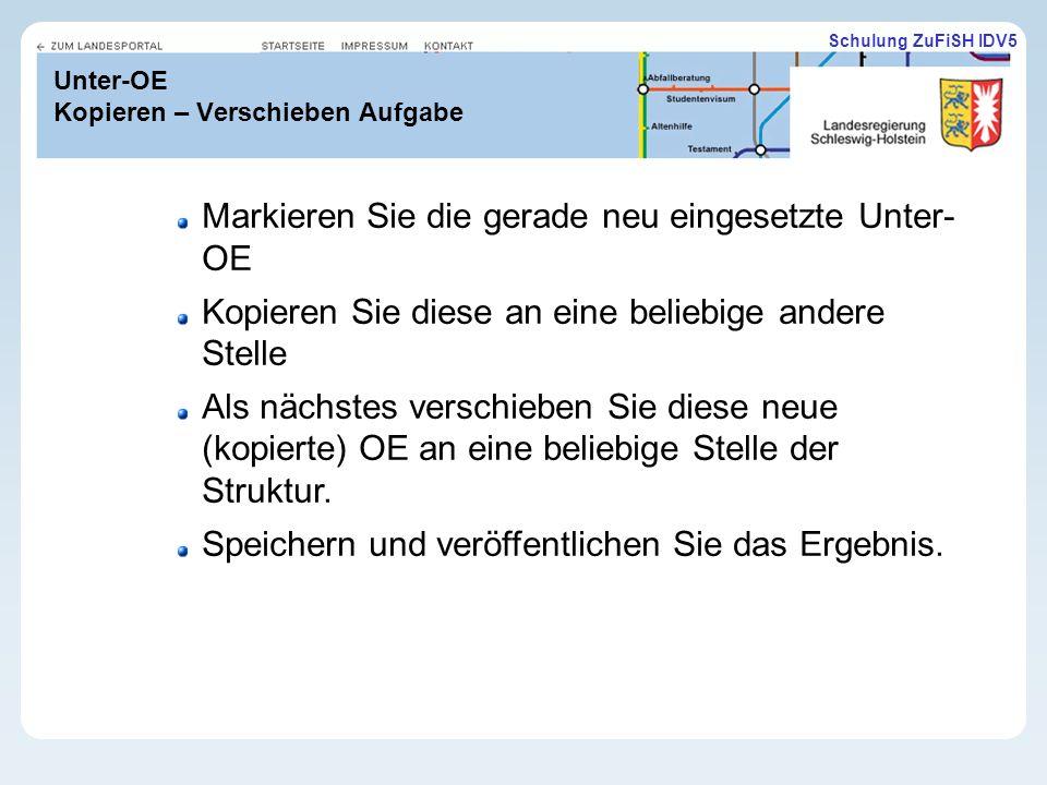 Schulung ZuFiSH IDV5 Unter-OE Kopieren – Verschieben Aufgabe Markieren Sie die gerade neu eingesetzte Unter- OE Kopieren Sie diese an eine beliebige andere Stelle Als nächstes verschieben Sie diese neue (kopierte) OE an eine beliebige Stelle der Struktur.