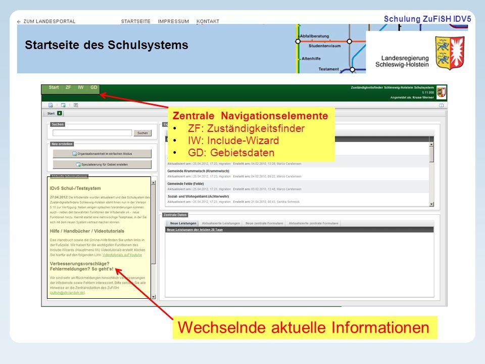 Schulung ZuFiSH IDV5 Startseite des Schulsystems Wechselnde aktuelle Informationen Zentrale Navigationselemente ZF: Zuständigkeitsfinder IW: Include-Wizard GD: Gebietsdaten