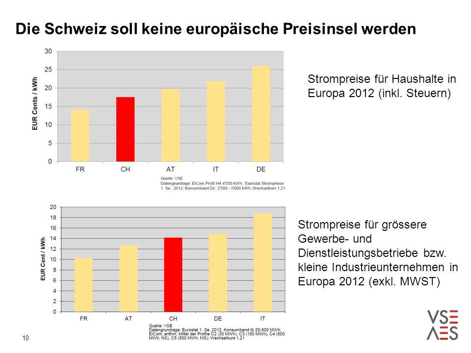 Die Schweiz soll keine europäische Preisinsel werden 18.05.201410 Strompreise für Haushalte in Europa 2012 (inkl.
