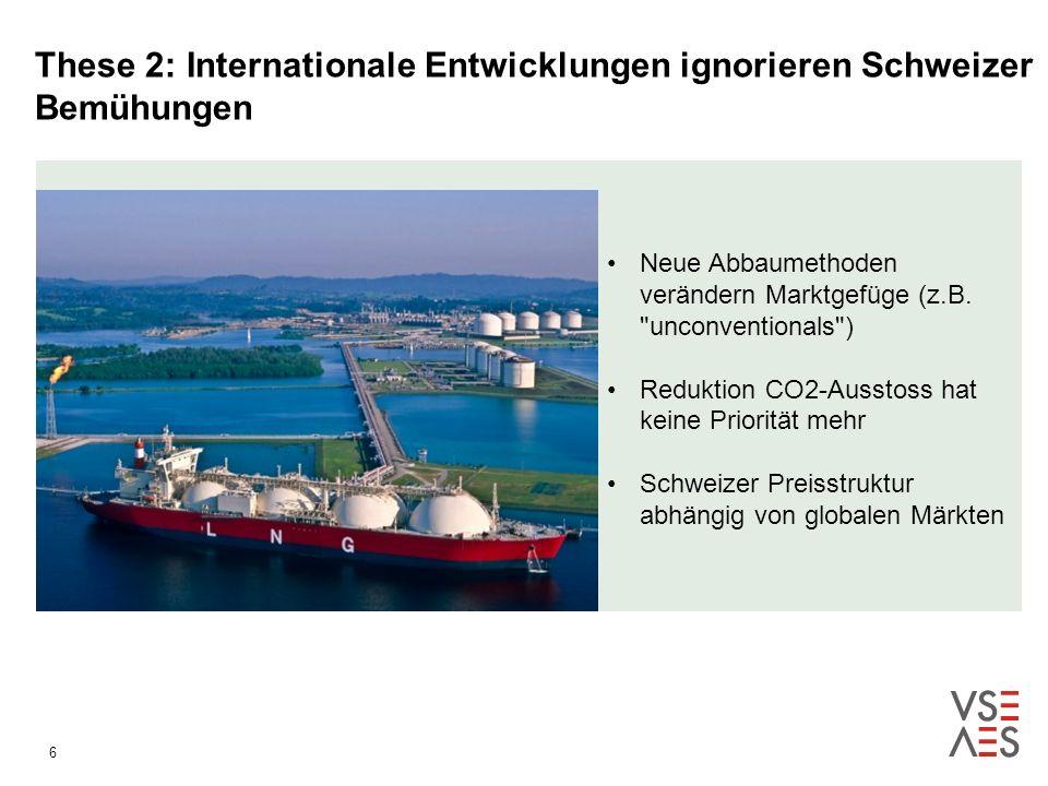 6 These 2: Internationale Entwicklungen ignorieren Schweizer Bemühungen Neue Abbaumethoden verändern Marktgefüge (z.B.