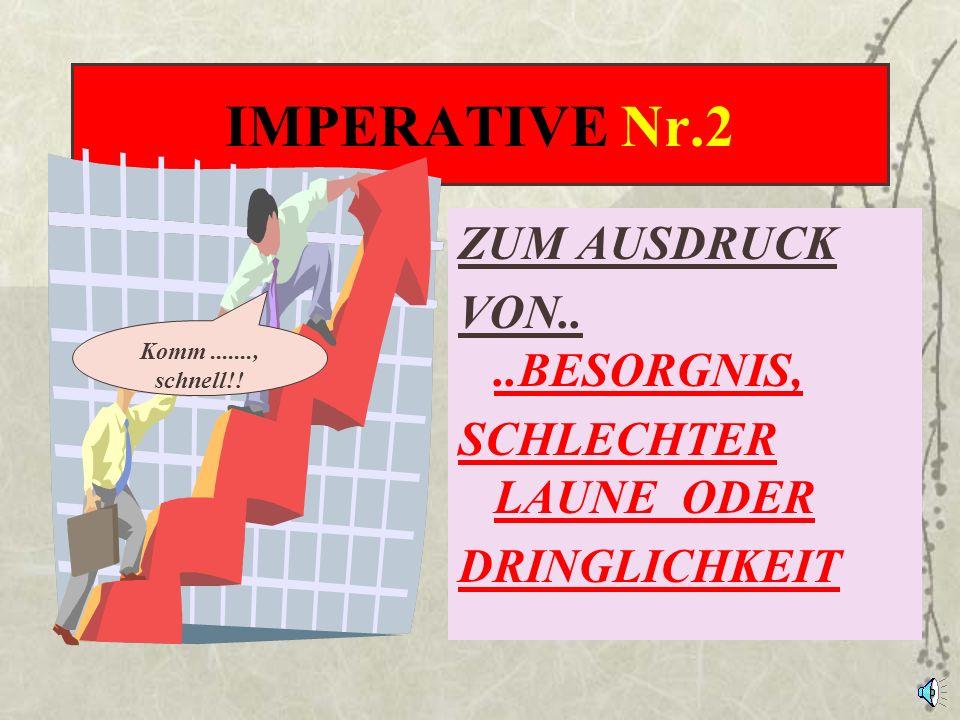 IMPERATIVE Nr.1 ZUM AUSDRUCK EINER HÖFLICHEN, RUHIGEN B I T T E Machen Sie bitte.......