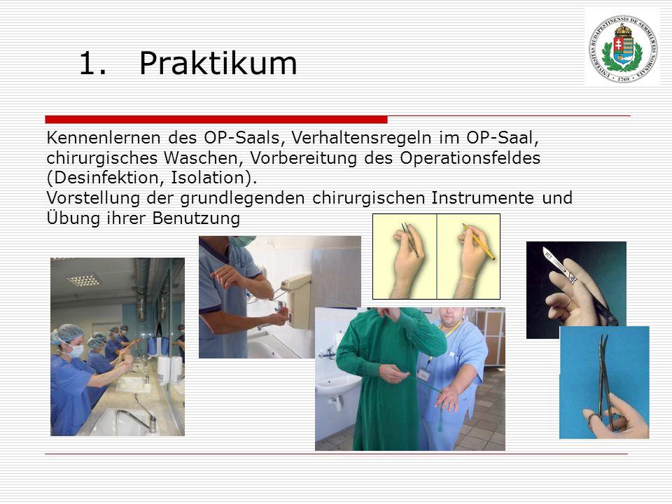 1.Praktikum Kennenlernen des OP-Saals, Verhaltensregeln im OP-Saal, chirurgisches Waschen, Vorbereitung des Operationsfeldes (Desinfektion, Isolation)