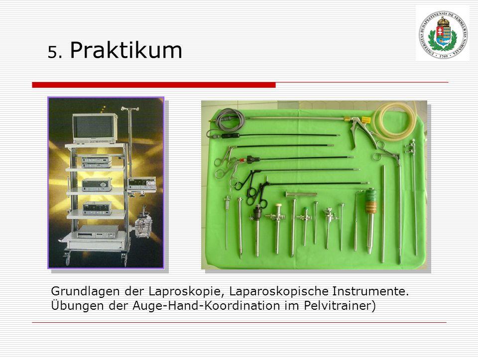 5. Praktikum Grundlagen der Laproskopie, Laparoskopische Instrumente. Übungen der Auge-Hand-Koordination im Pelvitrainer)