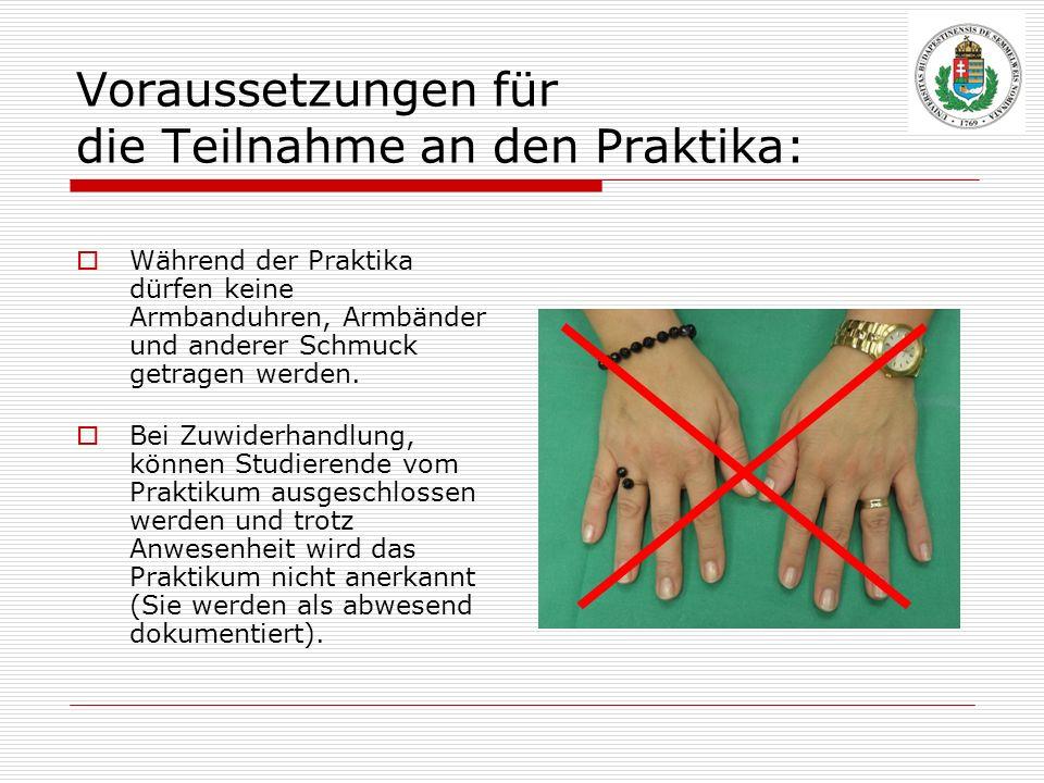 Voraussetzungen für die Teilnahme an den Praktika: Während der Praktika dürfen keine Armbanduhren, Armbänder und anderer Schmuck getragen werden. Bei