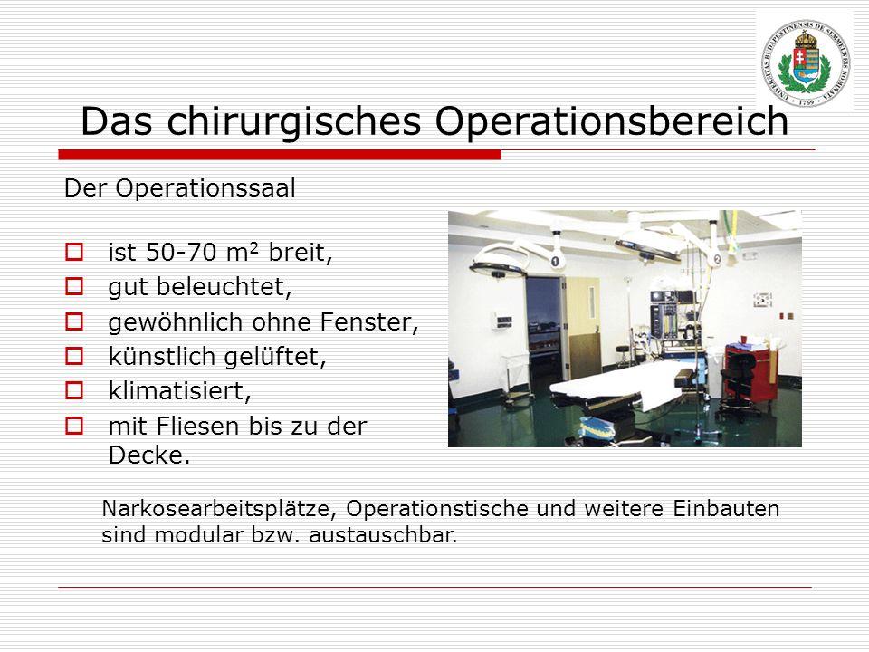 Das chirurgisches Operationsbereich Der Operationssaal ist 50-70 m 2 breit, gut beleuchtet, gewöhnlich ohne Fenster, künstlich gelüftet, klimatisiert,