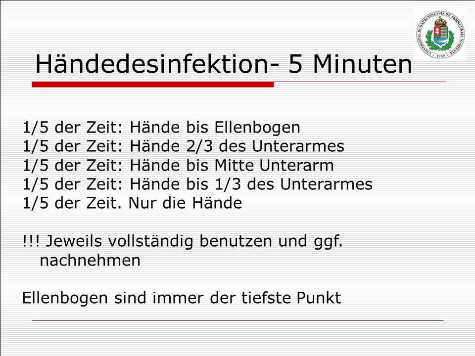 1/5 der Zeit: Hände bis Ellenbogen 1/5 der Zeit: Hände 2/3 des Unterarmes 1/5 der Zeit: Hände bis Mitte Unterarm 1/5 der Zeit: Hände bis 1/3 des Unter