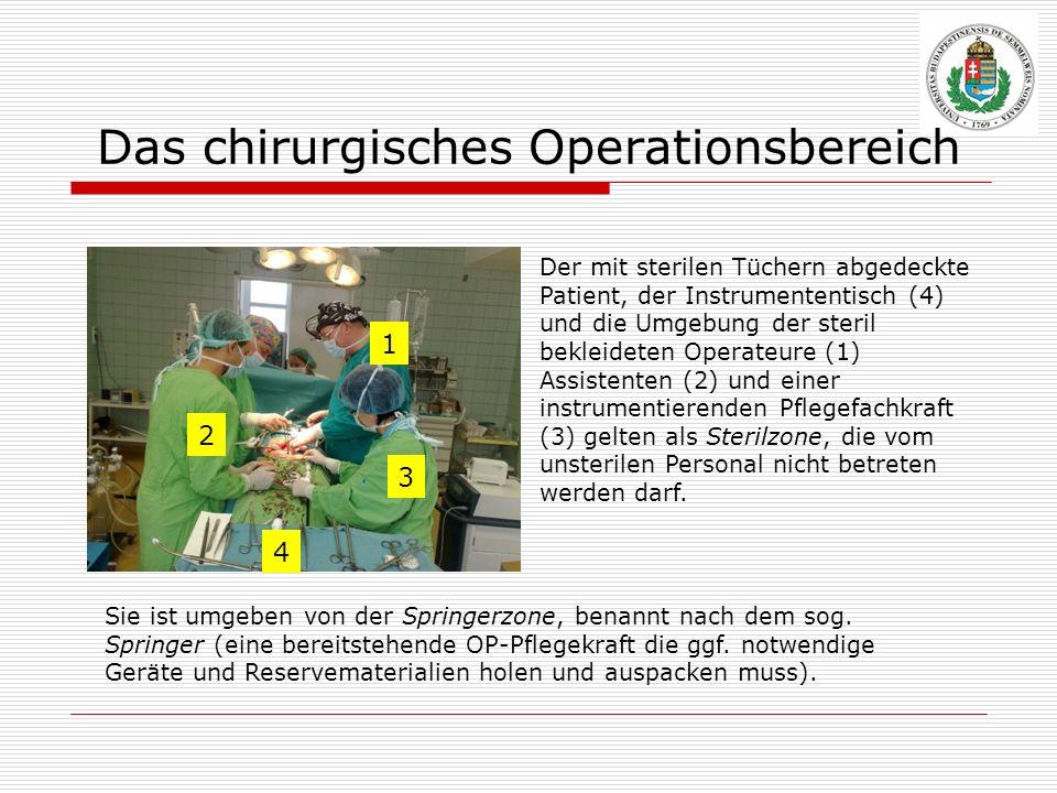 Das chirurgisches Operationsbereich Sie ist umgeben von der Springerzone, benannt nach dem sog. Springer (eine bereitstehende OP-Pflegekraft die ggf.